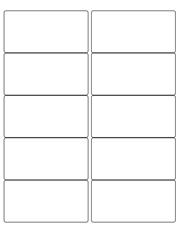 4 x 2 Rectangle White Label Sheet