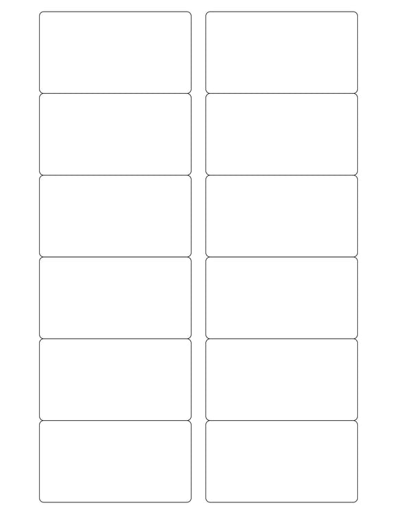 3 1/4 x 1 3/4 Rectangle White Printed Label Sheet