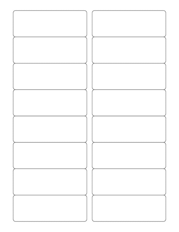 3 1/2 x 1 1/4 Rectangle White Printed Label Sheet