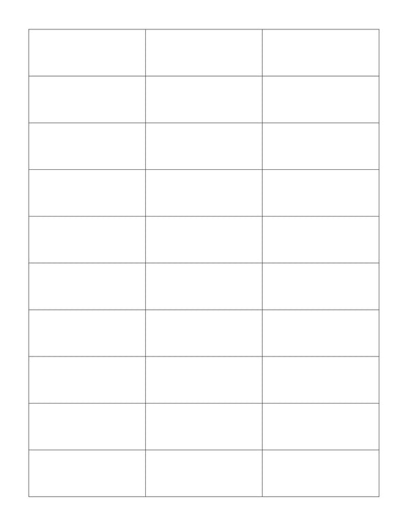 2 1/2 x 1 Rectangle White Printed Label Sheet