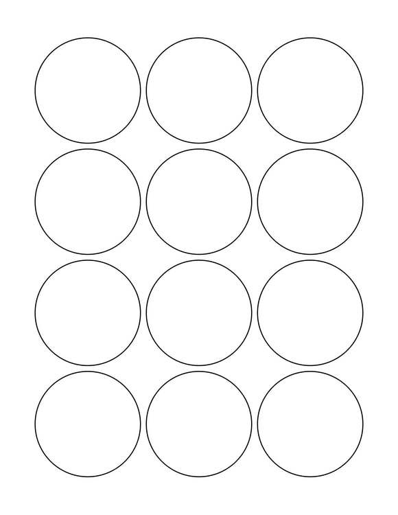 2 1/4 Diameter Round Natural Ivory Label Sheet