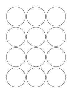 2 1/4 Diameter Round Removable White Printed Label Sheet