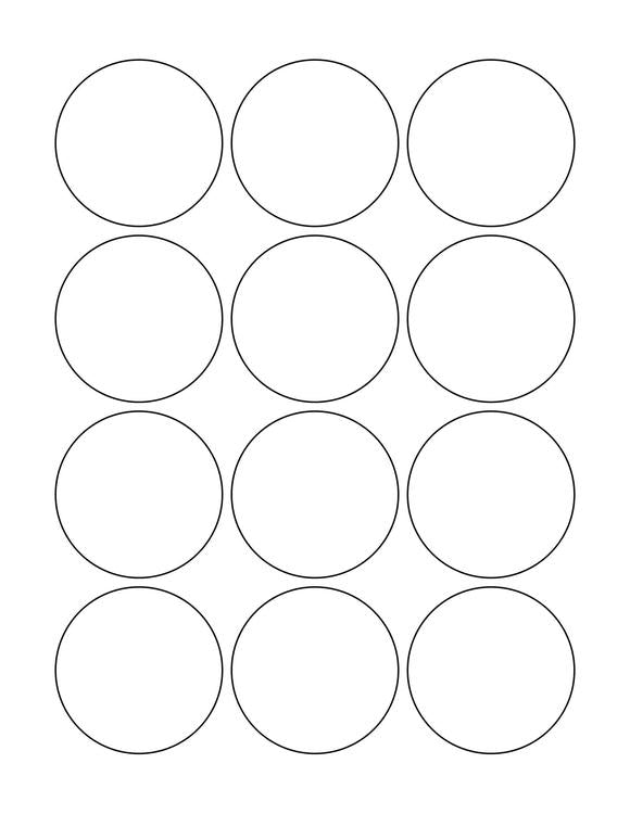 2 1/4 Diameter Round PREMIUM Water-Resistant White Inkjet Label Sheets (Pack of 250)