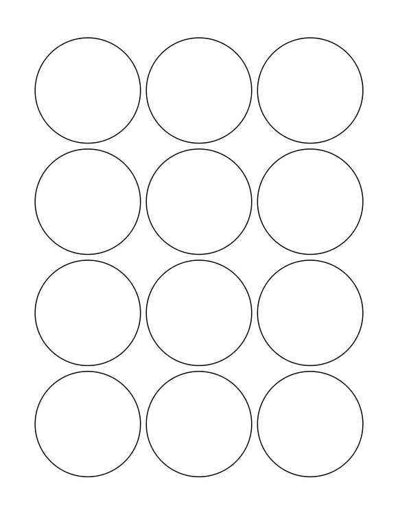 2 1/4 Diameter Round White Label Sheet