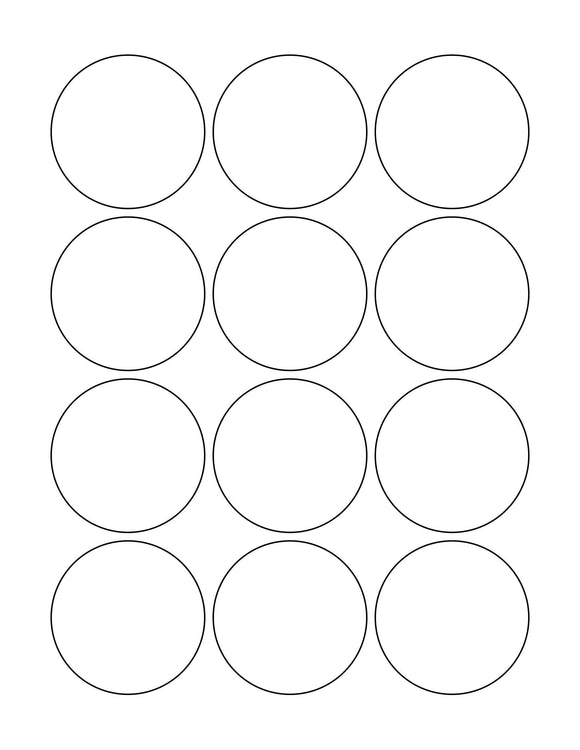 2 1/4 Diameter Round White High Gloss Printed Label Sheet