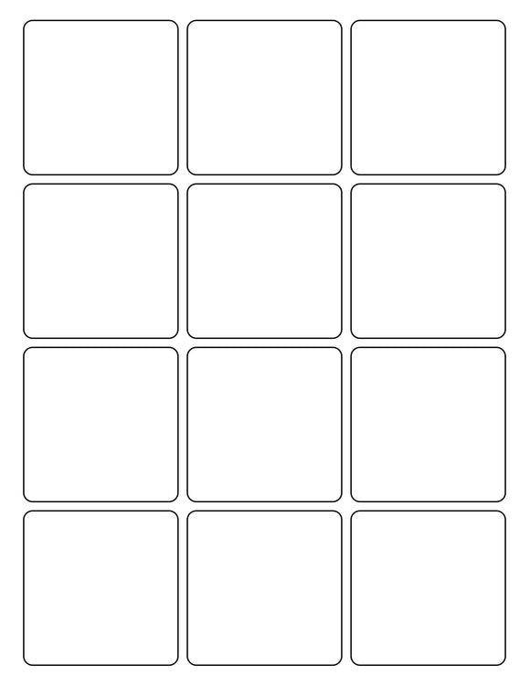 2 1/2 x 2 1/2 Square White Printed Label Sheet
