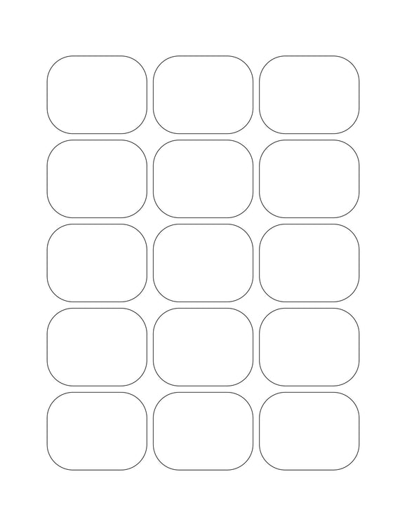2.09375 x 1.625 Rectangle White High Gloss Printed Label Sheet