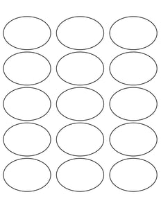 2 1/2 x 1 3/4 Oval Natural Ivory Label Sheet