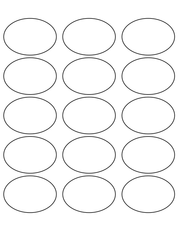 2 1/2 x 1 3/4 Oval White Label Sheet