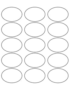 2 1/2 x 1 3/4 Oval All Temperature White Printed Label Sheet