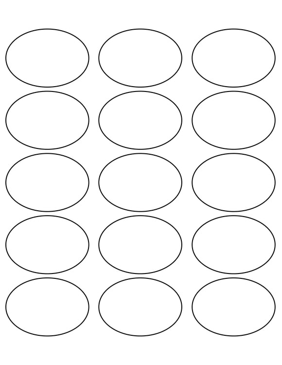2 1/2 x 1 3/4 Oval White Water-resistant Polyester Printed Label Sheet