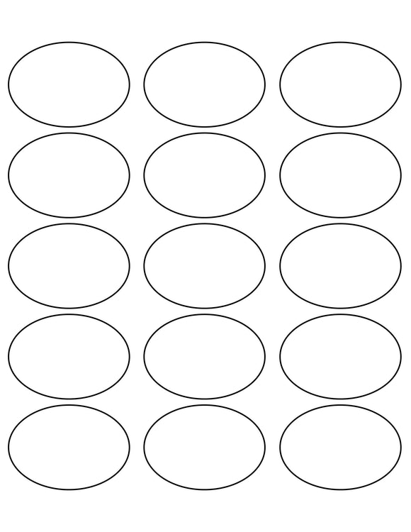 2 1/2 x 1 3/4 Oval Recycled White Label Sheet