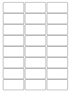 2 1/2 x 1 1/4 Rectangle White Label Sheet