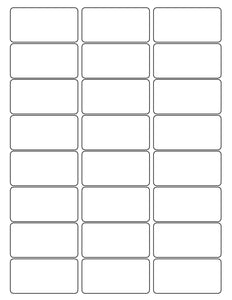 2 1/2 x 1 1/4 Rectangle Removable White Printed Label Sheet