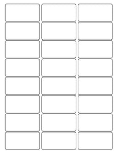 2 1/2 x 1 1/4 Rectangle White High Gloss Printed Label Sheet