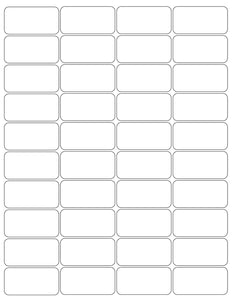 2 x 1 Rectangle White Label Sheet (Rounded Corners)