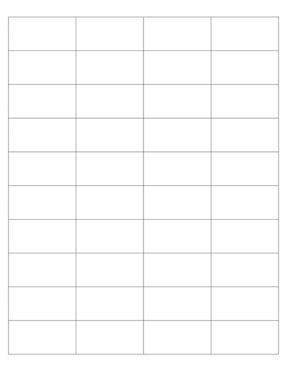 2 x 1 Rectangle White Label Sheet (Square Corners)