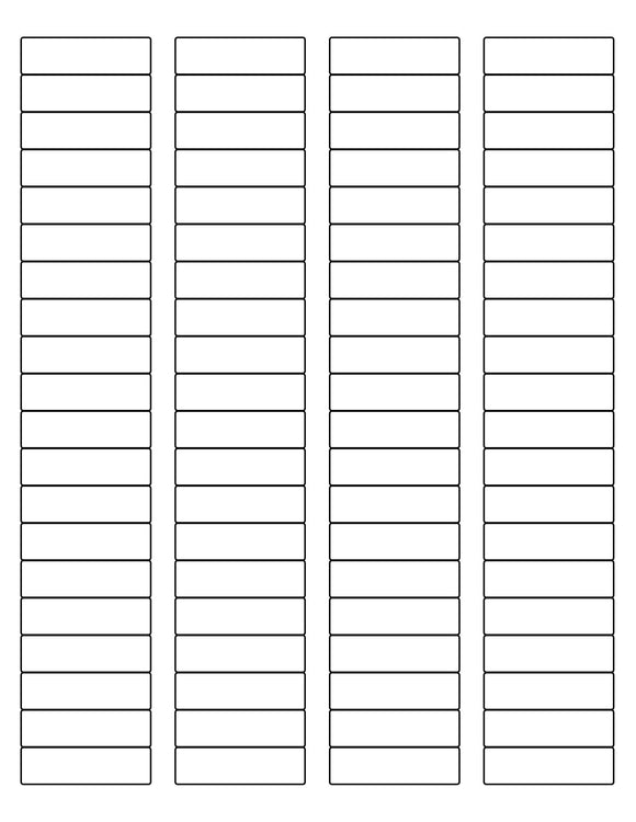 1 3/4 x 1/2 Rectangle White High Gloss Printed Label Sheet