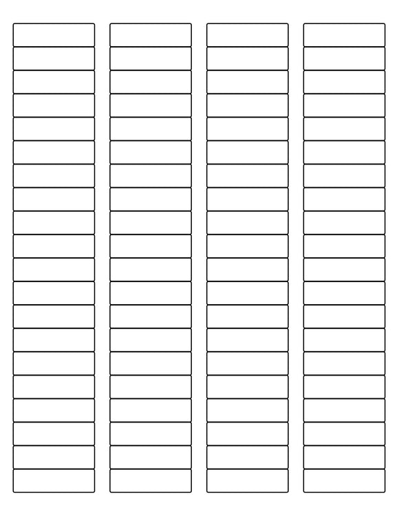 1 3/4 x 1/2 Rectangle White Printed Label Sheet