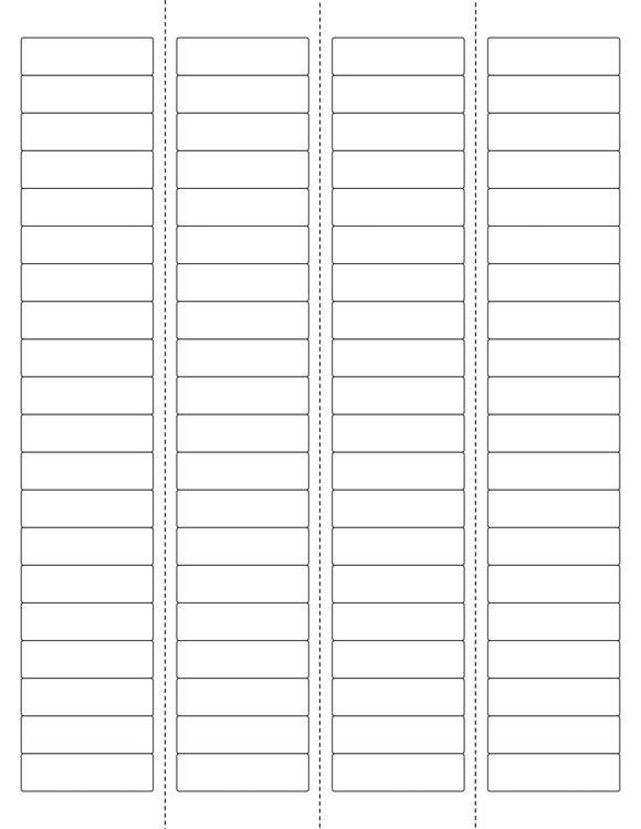 1 3/4 x 1/2 Rectangle w/ Vert Perfs Recycled White Printed Label Sheet