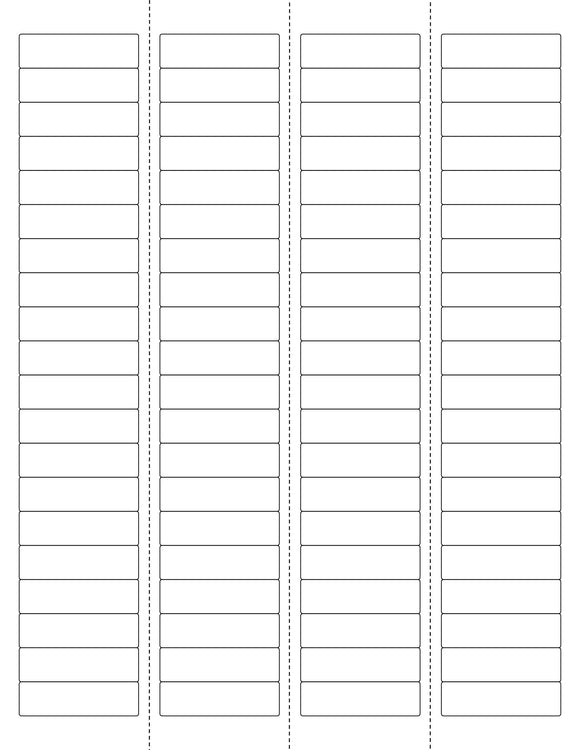 1 3/4 x 1/2 Rectangle w/ Vert Perfs White Printed Label Sheet