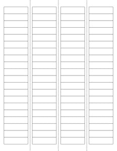1 3/4 x 1/2 Rectangle w/ Vert Perfs Natural Ivory Printed Label Sheet