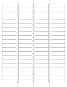 1 3/4 x 1/2 Rectangle w/ Vert Perfs Removable White Printed Label Sheet
