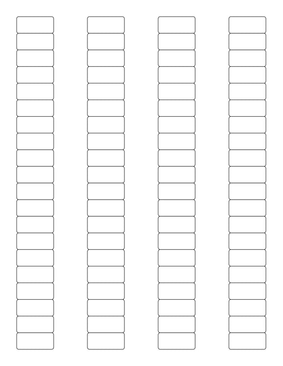 1 1/8 x 1/2 Rectangle White Printed Label Sheet