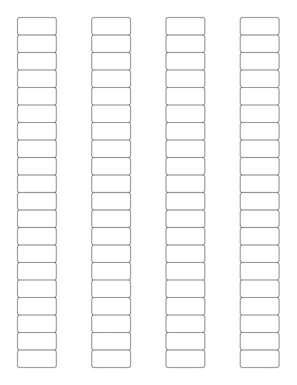1 1/8 x 1/2 Rectangle White High Gloss Printed Label Sheet