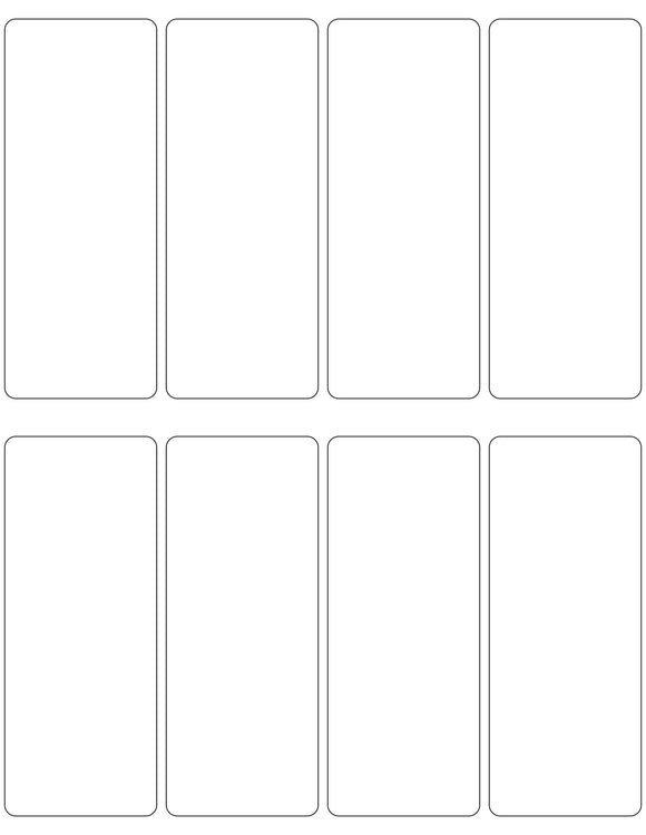 2 x 5 Rectangle White High Gloss Printed Label Sheet