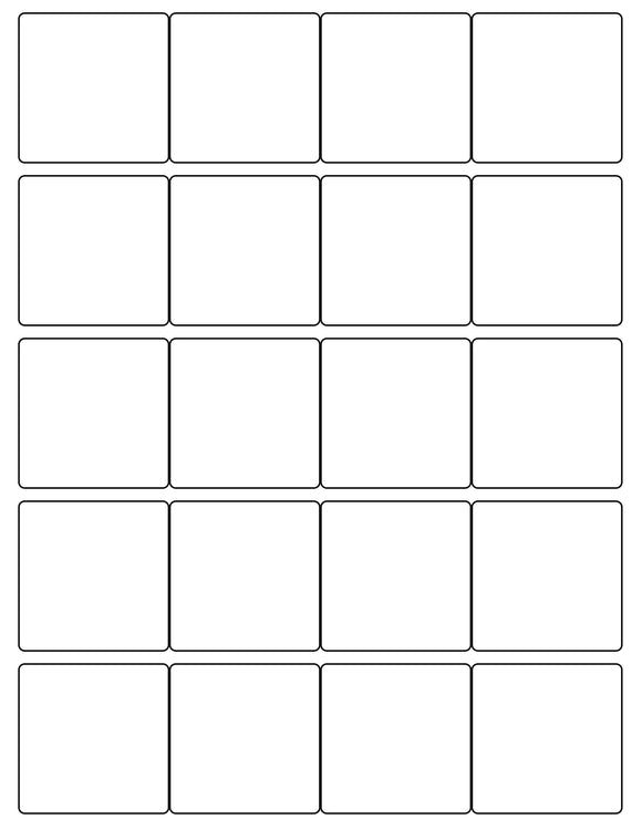 2 x 2 Square White Label Sheet
