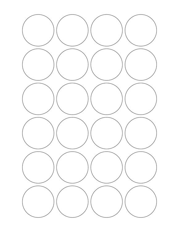 1 1/2 Diameter Round PREMIUM Water-Resistant White Inkjet Label Sheets (Pack of 250) (24 up)