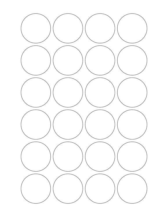 1 1/2 Diameter Round White Label Sheet (24 up)