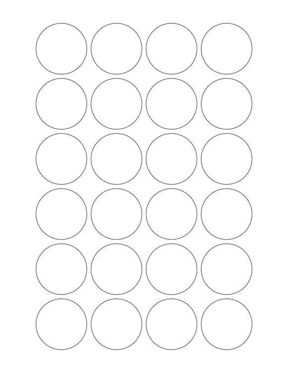 1 1/2 Diameter Round White Printed Label Sheet (24 up)