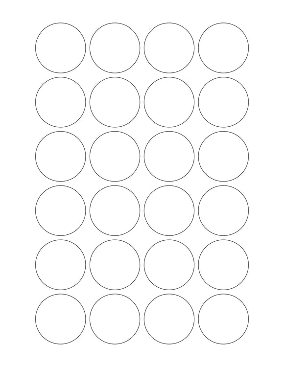 1 1/2 Diameter Round White High Gloss Printed Label Sheet (24 up)