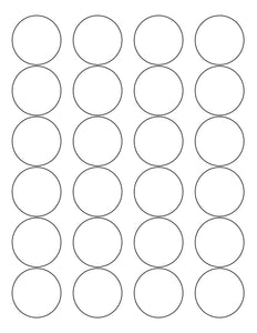 1 2/3 Diameter Round White High Gloss Laser Label Sheet