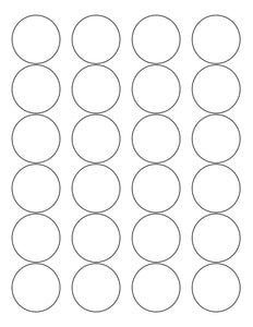 1 2/3 Diameter Round White High Gloss Printed Label Sheet