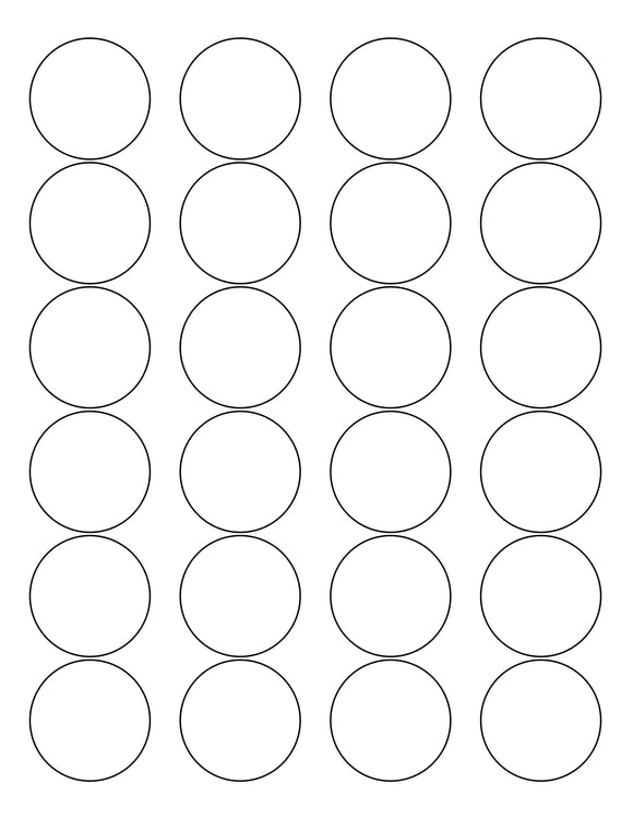 1 2/3 Diameter Round White Label Sheet
