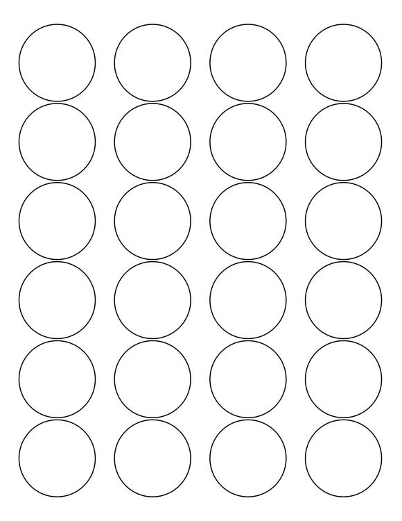 1 2/3 Diameter Round PREMIUM Water-Resistant White Inkjet Label Sheets (Pack of 250)