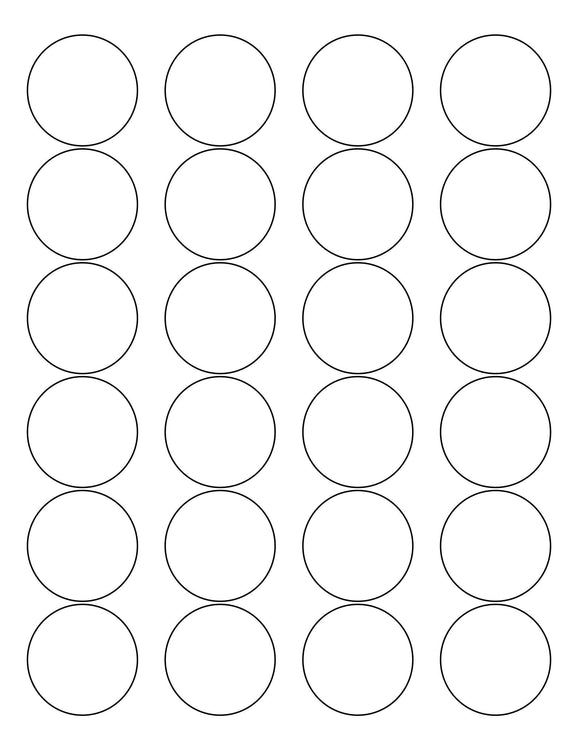 1 2/3 Diameter Round White Printed Label Sheet