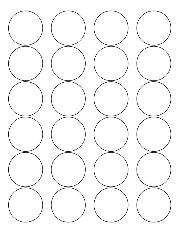 1 2/3 Diameter Round Removable White Printed Label Sheet