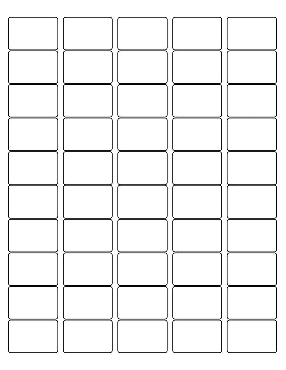 1 1/2 x 1 Rectangle White High Gloss Printed Label Sheet