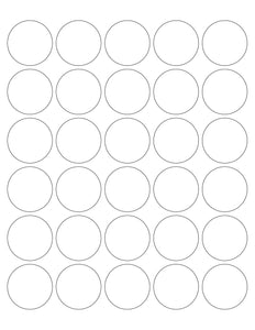 1 1/2 Diameter Round White Water-resistant Polyester Printed Label Sheet (30 up)