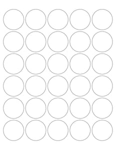 1 1/2 Diameter Round White High Gloss Laser Label Sheet (30 up)