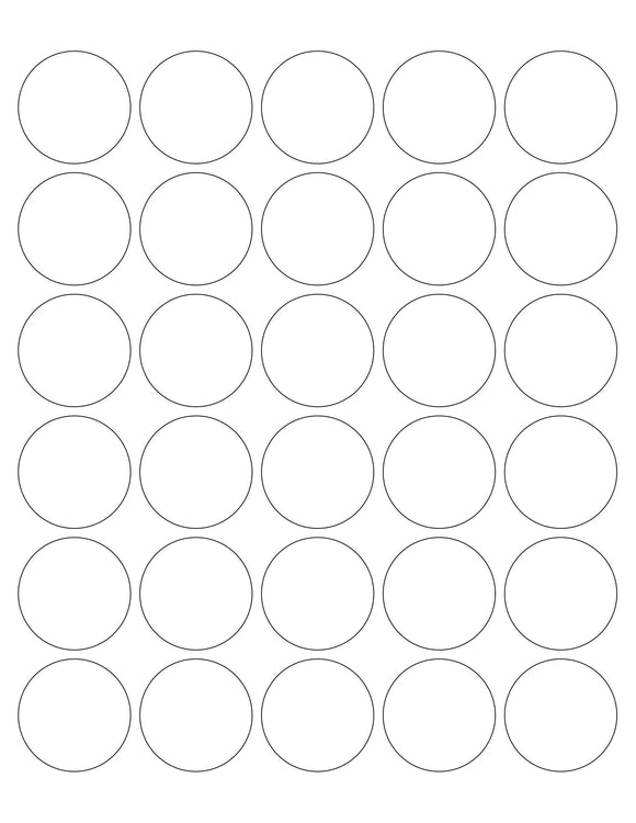 1 1/2 Diameter Round White High Gloss Printed Label Sheet (30 up)