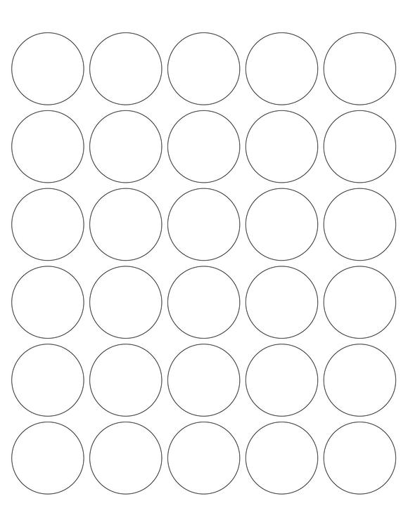 1 1/2 Diameter Round PREMIUM Water-Resistant White Inkjet Label Sheets (Pack of 250) (30 up)