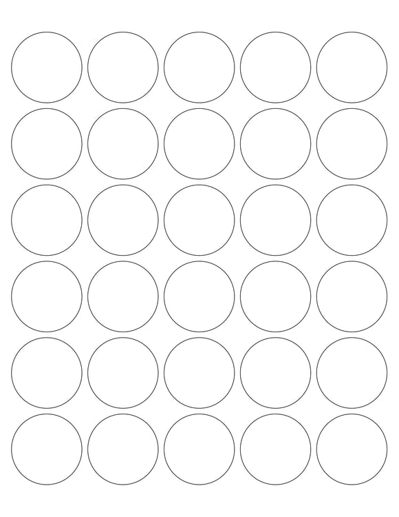 1 1/2 Diameter Round White Printed Label Sheet (30 up)