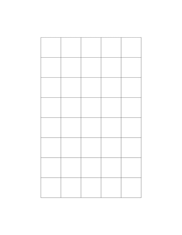 15/16 x 15/16 Square Removable White Printed Label Sheet