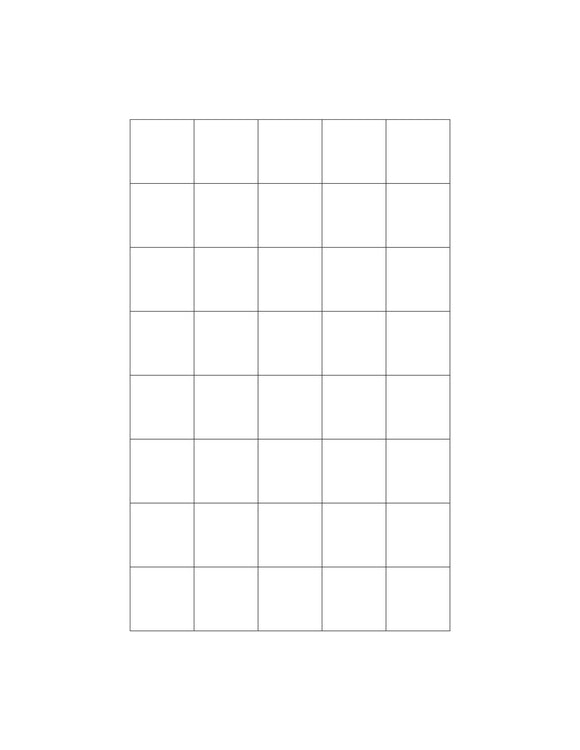 15/16 x 15/16 Square White Label Sheet