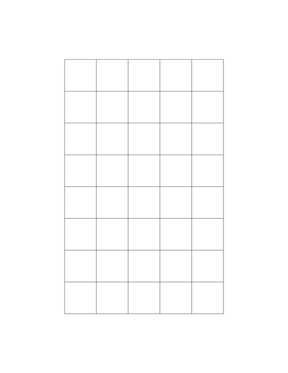 15/16 x 15/16 Square Natural Ivory Printed Label Sheet